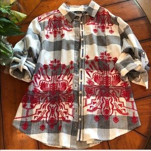 Tru Luxe | Plaid & Embroidered Western Shirt